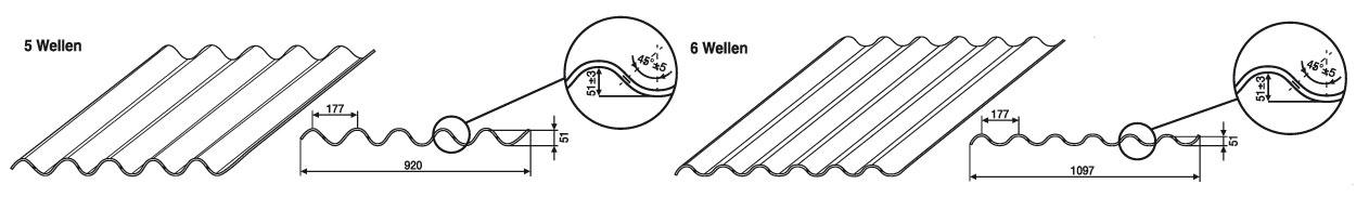 5 oder 6 Wellen, Faserzement